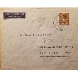 I) 1940 NEDERLAND, QUEEN WILHELMINA, BROWN STAMP, AIR MAIL, CIRCULATED COVER FROM NEDERLAND TO NEW YORK