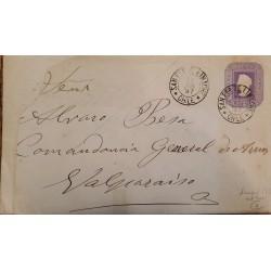 J) 1897 CHILE, COLON 3 CENTS PURPLE, POSTCARD, POSTAL STATIONARY, FROMO SANTA FE DE LIMACHE TO VALPARAISO