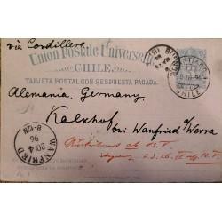 J) 1896 CHILE, UNIVERSAL POSTAL UNION, COLON, POSTCARD, POSTAL STATIONARY, FROM SANTIAGO TO GERMANY, VIA CORDILLERA