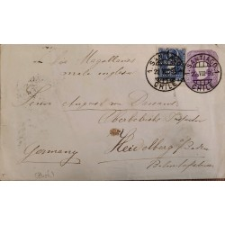 J) 1895 CHILE, COLUMBUS, POSTAL STATIONARY, CIRCUATED COVER, FROM SANTIAGO TO GERMANY