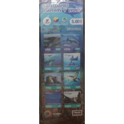 A) 2019, ECUADOR, DARWIN AND GOLF SANCTUARY, SHARKS, RAYS, TURTLES, 8 SELF-ADHESIVE SEALS