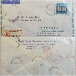 I) 1966 POLAND, CHOPIN, AIR MAIL, CIRCULATED COVER FROM POLAND TO INDONESIA, BLACK CANCELLATION