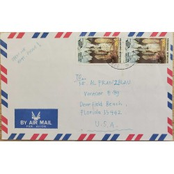 I) 1993 INDONESIA, CAVE FORMATIONS, SET OF 2, AIR MAIL, CIRCULATED COVER FROM INDONESIA TO FLORIDA, USA, BLACK CANCELLATION