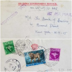 I) 1964 INDIA, MAP OF INDIA, SET OF 2, ESMERALD, RED LILAC, INDIAN LION, AIR MAIL