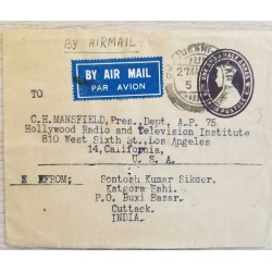 I) 1949 INDIA, KING GEORGE VI, AIR MAIL, CIRCULATED COVER FROM INDIA TO LOS ANGELES, CALIFORNIA, USA, BLACK CANCELLATION