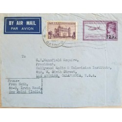 ​I) 1949 INDIA, TOMB OF MUHAMMAD ADIL SHAH, BIJAPUR, KING GEORGE VI, FOUR-MOTOR PLANE, AIR MAIL, CIRCULATED COVER FROM NEW DELHI