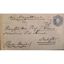 J) 1895 CHILE, COLON, POSTCARD, POSTAL STATIONARY, FROM CHILE TO PAISES BAJOS, VIA MAGALLANES