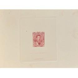 J) 1880 ARGENTINA, DIE SUNKEN CARDBOARD, AMERICAN BANK NOTE, 25 CENTS RED, GENERAL CARLOS DE ALVEAR
