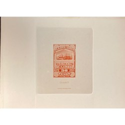 J) 1920 CIRCA-ARGENTINA, DIE SUNKEN CARDBOARD, AMERICAN BANK NOTE, 50 PESOS, GRAY, BOAT