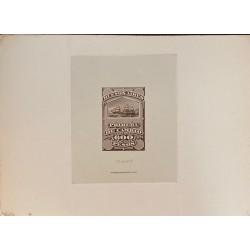 J) 1920 CIRCA-ARGENTINA, DIE SUNKEN CARDBOARD, AMERICAN BANK NOTE, 600 PESOS, BROWN, BOAT