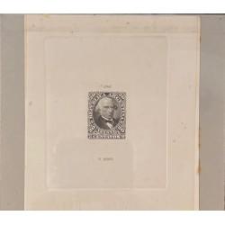J) 1877 ARGENTINA, DIE SUNKEN CARDBOARD, AMERICAN BANK NOTE, DALMACIO VELEZ, 20 CENTS GRAY, MAQUETTE