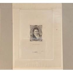 J) 1877 ARGENTINA, DIE SUNKEN CARDBOARD, AMERICAN BANK NOTE, BELGRANO, 10 CENTS GRAY, MAQUETTE