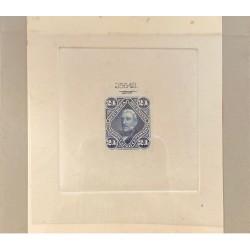 J) 1878 ARGENTINA, DIE SUNKEN CARDBOARD, AMERICAN BANK NOTE, SAN MARTIN, 24 CENTS BLUE, MAQUETTE