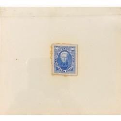 J) 1873 ARGENTINA, DIE SUNKEN CARDBOARD, AMERICAN BANK NOTE, CORNELIO SAAVEDRA, 90 CENTS BLUE, MAQUETTE