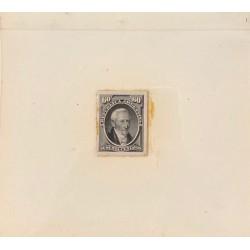 J) 1873 ARGENTINA, DIE SUNKEN CARDBOARD, AMERICAN BANK NOTE, GERVASIO ANTONIO POSADAS, 60 CENTS GRAY, MAQUETTE