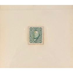 J) 1878 ARGENTINA, DIE SUNKEN CARDBOARD, AMERICAN BANK NOTE, SAN MARTIN, 15 CENTS GREEN, MAQUETTE