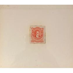 J) 1889 ARGENTINA, DIE SUNKEN CARDBOARD, AMERICAN BANK NOTE, RIVADAVIA, 5 CENTS ORANGE, MAQUETTE