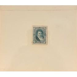 J) 1877 ARGENTINA, DIE SUNKEN CARDBOARD, AMERICAN BANK NOTE, BELGRANO, 16 CENTS GREN, MAQUETTE