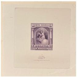 J) 1920 BOLIVIA, DIE SUNKEN CARDBOARD, AMERICAN BANK NOTE, CONSULAR STAMP, REVENUE, 2 BOLIVIANS, PURPLE