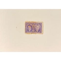 J) 1951 CANADA, DIE SUNKEN CARDBOARD, AMERICAN BANK NOTE, PRINCESS ELIZABETH AND DUKE OF EDINBURGH, 4 CENTS PURPLE