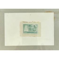 J) 1953 CANADA, DIE SUNKEN CARDBOARD, AMERICAN BANK NOTE, BOBBIN CLOTH AND SPINNING WHEEL, 50 CENTS, MN