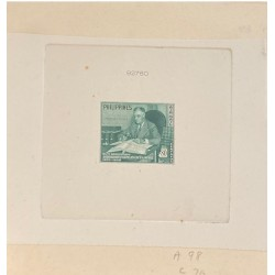 J) 1950 PHILIPPINES, DIE SUNKEN CARDBOARD, AMERICAN BANK NOTE, F D ROSVELT WITH HIS STAMPS, 80 CENTS GREEN