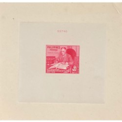 J) 1950 PHILIPPINES, DIE SUNKEN CARDBOARD, AMERICAN BANK NOTE, F D ROSVELT WITH HIS STAMPS, 6 CENTS RED
