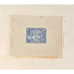 J) 1920 CIRCA-SLOVENIA, DIE SUNKEN CARDBOARD, AMERICAN BANK NOTE, WOMEN, 1 CENT BLUE
