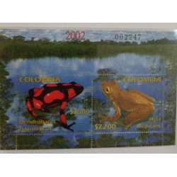 A) 2002, COLOMBIA, AMPHIBIANS, MINISHEET, HARLEQUIN FROG, CANTORA FROG, THOMAS GERG & SONS