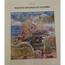 A) 2002, COLOMBIA, NATURAL RICHES OF COLOMBIA, MINISHEET, THOMAS GERG & SONS