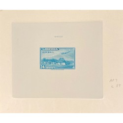 J) 1944 LIBERIA, DIE SUNKEN CARDBOARD, AMERICAN BANK NOTE, IMPERFORATED, PLANE OVER HOUSE, 24 CENTS BLUE