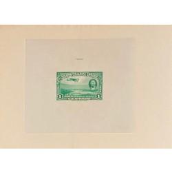 J) 1939 NICARAGUA, DIE SUNKEN CARDBOARD, AMERICAN BANK NOTE, MANAGUA AVIATION FIELD, 1 CENT GREEN