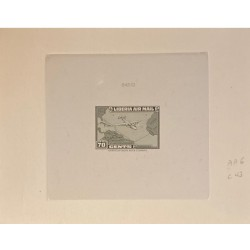 J) 1944 LIBERIA, DIE SUNKEN CARDBOARD, AMERICAN BANK NOTE, IMPERFORATED, PLANE AND MAP, 70 CENTS GREEN
