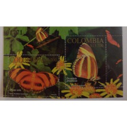 A) 2002, COLOMBIA, BUTTERFLIES, MINISHEET, FLAME BUTTERFLY, GRANADILLA TIGER