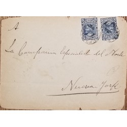 J) 1894 CHLE, COLUMBUS, PAIR, CIRCULATED COVER, FROM CHILE TO NEW YORK
