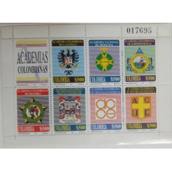 A) 1998, COLOMBIA, MINISHEET, SHIELDS OF THE DIFFERENT COLOMBIAN ACADEMIES