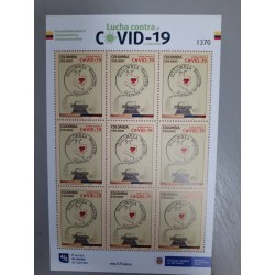 A) 2020, COLOMBIA, FIGHT AGAINST COVID-19, I CARE OF MY CARE OF YOU, MNH