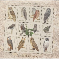 A) 2003, UKRAINE, BIRDS – OWLS, MINISHEET, BUBO BUBO,