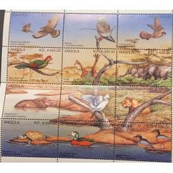 A) 1996, ANGOLA, FAUNA, MINISHEET, EUROPEAN BUMBLEBEE, EAGLE, CERNICARO, GIRAFFE, ELEPHANT, HIPPOTAMUS, LION, TURTLE, GOOSE