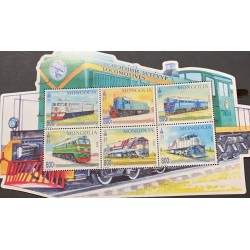 A) 2017 MONGOLIA, TRAINS, LOCOMOTIVES, ODD SHAPE, MINISHEET