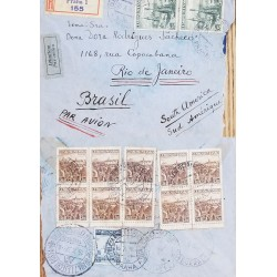 J) 1937 CZECHOSLOVAKIA, LANDSCAPE, REGISTERED, MULTIPLE STAMPS, AIRMAIL, CIRCULATED COVER, FROM CZECHOSLOVAKIA TO RIO DE JANEIRO