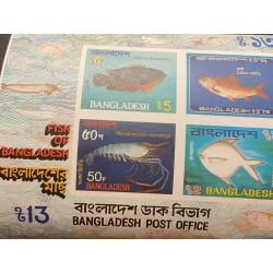 A) 1983, BANGLADESH, IMPERFORATED, LOCAL FISH, GIANT RIVER PRAWN, STROMATEUS CINEREUS, REHU, CLIMBING PERCH, MINISHEET