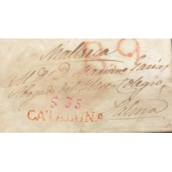 A) 1859, SPAIN, ALBACETE, RED, SENT TO VALENCIA, CANCELED , CIRCULATED COVER