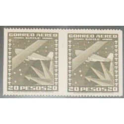 A) 1945, CHILE, AIRPLANE & SOUTHERN CROSS, 20P OLIVE