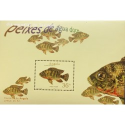 A) 2001, ANGOLA, FRESHWATER FISH, RED BELLY TILAPIA, MINISHEET