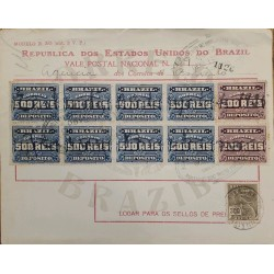 A) 1925, BRAZIL, NATIONAL POSTCARD, REVENUE STAMPS, WITH STAMPS AMERICAN BANK NOTE