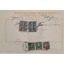 A) 1915, BRAZIL, NATIONAL POSTCARD, REVENUE STAMPS, 5 VALUES, CACELLED