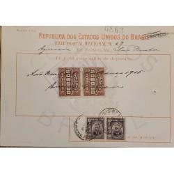 A) 1915, BRAZIL, NATIONAL POSTCARD, REVENUE STAMP