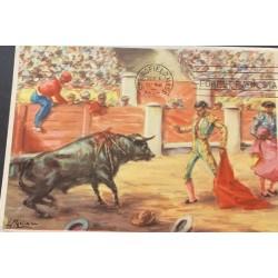 A) 1955, SPAIN, BULLFIGHTING, POSTCARD, SPRINGFIELD
