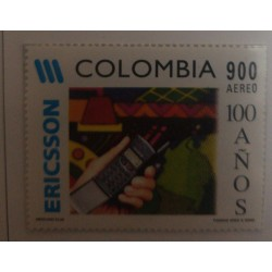 A) 1997, COLOMBIA, CENTENNIAL OF THE ERICSSON COMPANY IN COLOMBIA, AERIAL, CELL PHONE